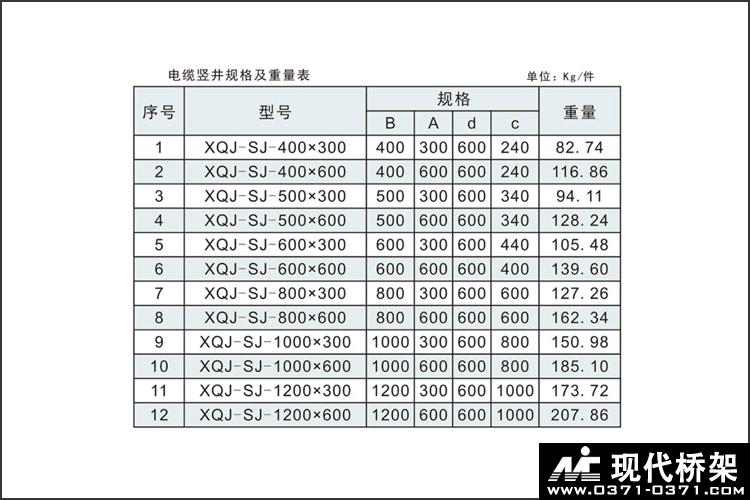 电缆竖井桥架规格及重量表